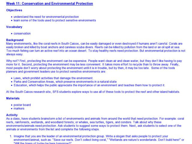 Conservation and Environmental Protection Lesson Plan for 4th - 12th