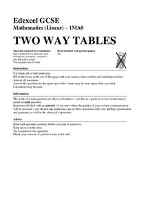Two Way Tables Assessment