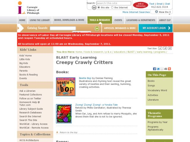 Creepy, Crawly Critters Lesson Plan