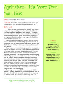 Agriculture- It Is More Than You Think Lesson Plan