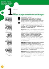 What Is Hunger and Who are the Hungry? Lesson Plan