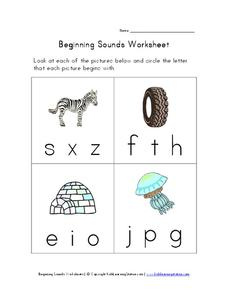 Beginning Sounds Worksheet Worksheet