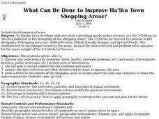 What Can Be Done to Improve Ha'iku Town Shopping Areas? Lesson Plan