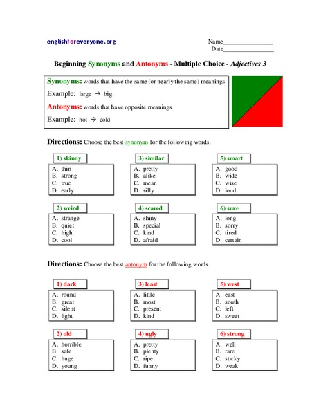 Beginning Synonyms and Antonyms-Multiple Choice-Adjectives Lesson Plan
