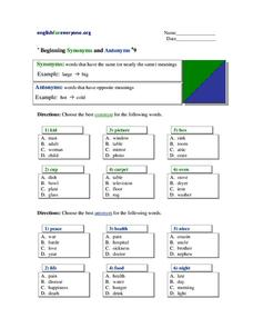 Beginning Synonyms and Antonyms Worksheet