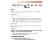 Lines, Rays, Line Segments, and Planes Lesson Plan