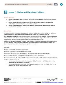 Markup and Markdown Problems Lesson Plan