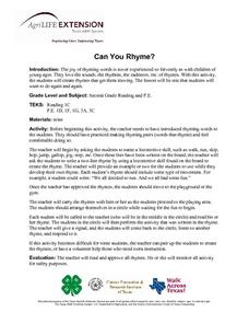 Can You Rhyme? Lesson Plan