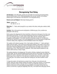 Recognizing Text Relay Lesson Plan