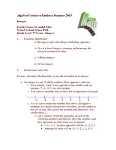 Integer Lesson Plan