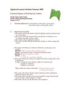 Construct Figures to Find Specific Volume Lesson Plan