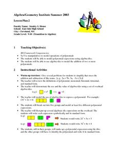 Operations of Polynomials Lesson Plan
