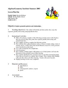 Lesson Plan One:  Points, Lines, Rays Lesson Plan