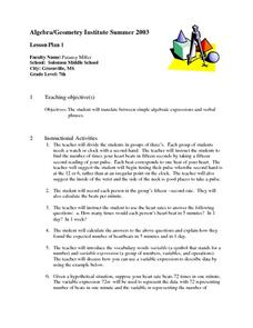 Translating Words to Algebraic Expressions Lesson Plan