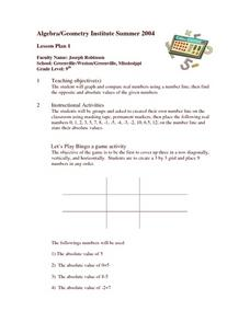 Absolute Value Bingo Lesson Plan