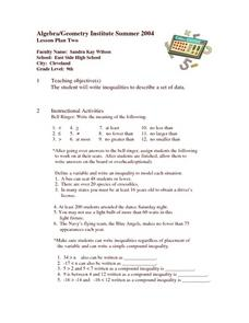 Writing Inequalities Lesson Plan