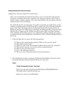 Mining Reclamation Research Project Lesson Plan