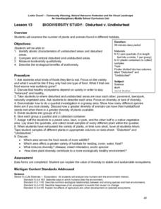 Disturbed v. Undisturbed Lesson Plan