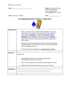 Investigating Properties of Water: Temperature Lesson Plan
