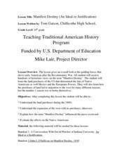 Manifest Destiny (An Ideal or Justification) Lesson Plan