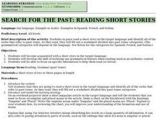 Search for the Past: Reading Short Stories Lesson Plan