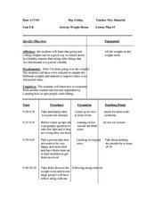 Weight Room Lesson Plan