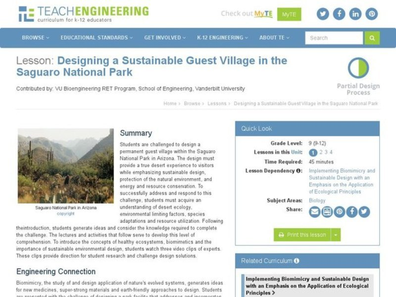 Designing a Sustainable Guest Village in the Saguaro National Park Lesson Plan
