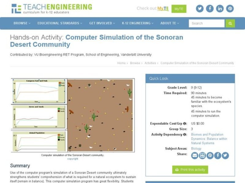 Computer Simulation of the Sonoran Desert Community Activities