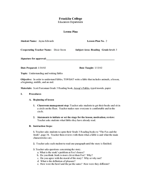 Understanding and Writing Fables Lesson Plan for 3rd Grade