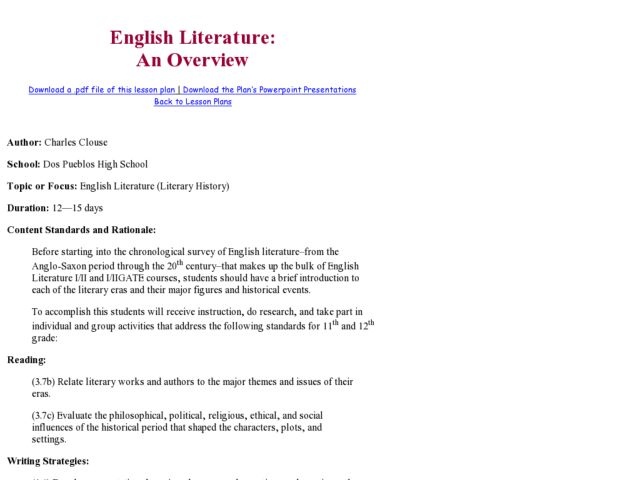 English Literature: An Overview Lesson Plan for 11th - 12th