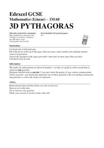3d pythagoras theorem lesson plans worksheets reviewed by teachers. Black Bedroom Furniture Sets. Home Design Ideas