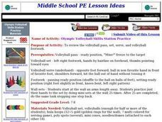 Olympic Volleyball Skills Station Practice Lesson Plan