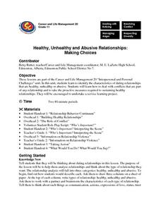 Healthy, Unhealthy and Abusive Relationships: Making Choices Lesson Plan