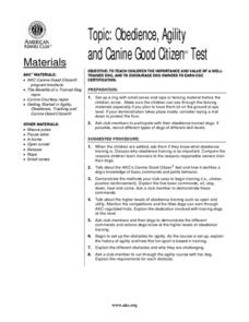 Obedience, Agility and Canine Good Citizen¿¿ Test Lesson Plan