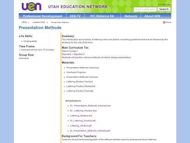 Interior design presentation methods lesson plan for 10th - Housing and interior design lesson plans ...