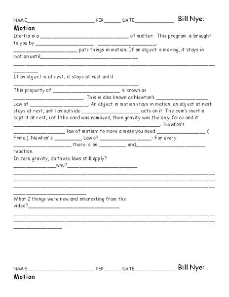 Bill Nye Motion Worksheet For 5th 10th Grade Lesson