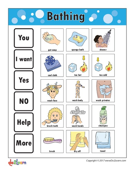 photo relating to Printable Communication Board for Adults named Bathing Interaction Board Printables Template for