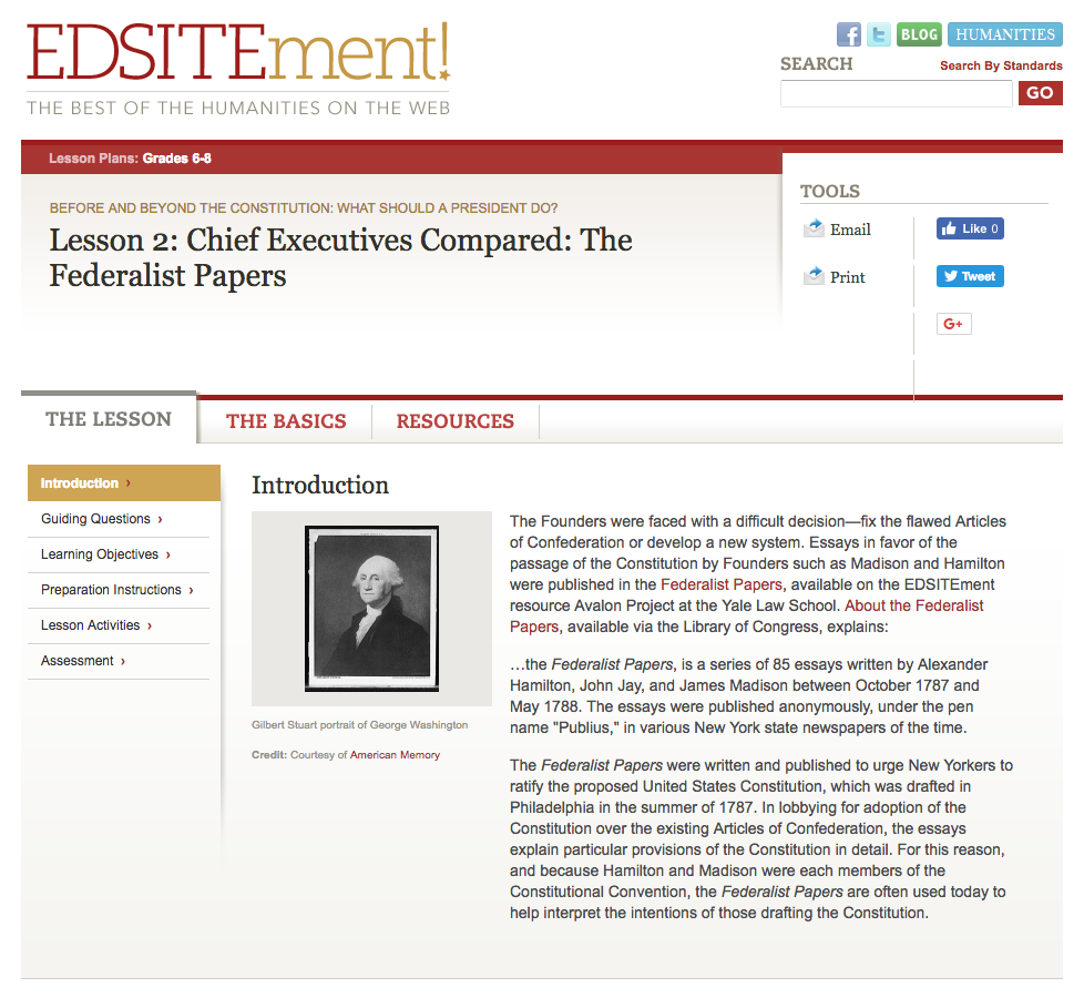 Chief Executives Compared: The Federalist Papers Lesson Plan