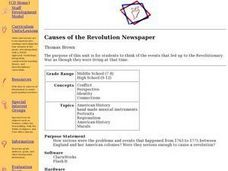 Causes of the Revolution Newspaper Lesson Plan