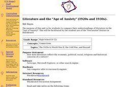"Literature and the ""Age of Anxiety"" (1920s and 1930s). Lesson Plan"