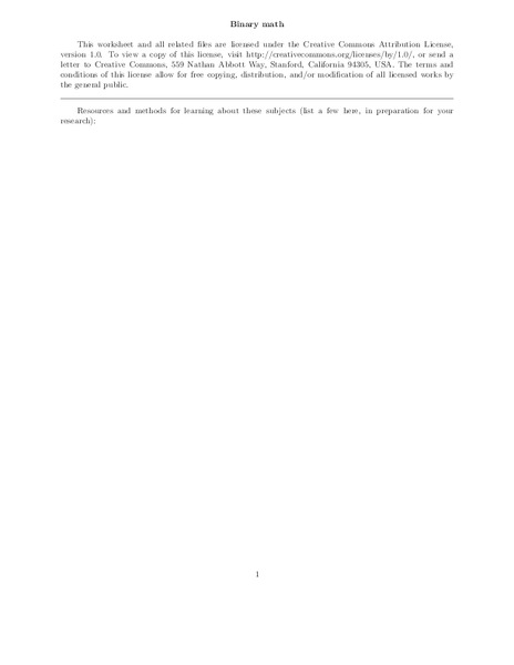 Binary Math Worksheet For 11th 12th Grade Lesson Planet