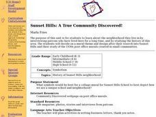 Sunset Hills: A True Community Discovered! Lesson Plan