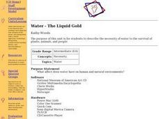 Water-The Liquid Gold Lesson Plan