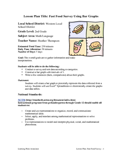 Fast Food Survey Using Bar Graphs 2nd Grade Lesson Plan | Lesson ...