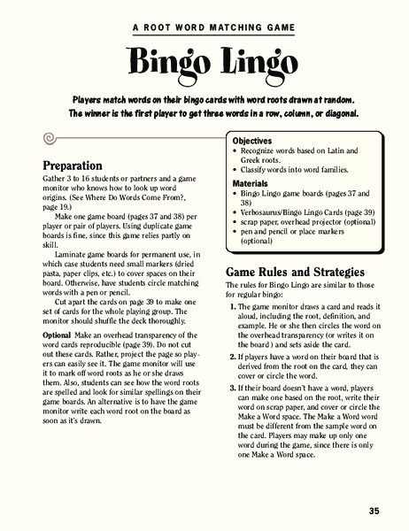 Bingo Lingo Activities & Project
