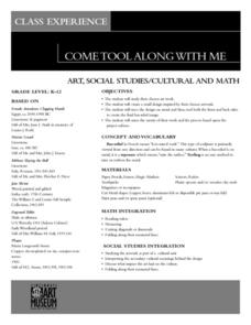 Come Tool Along With Me Lesson Plan