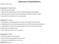 Experiments of Simple Machines Lesson Plan