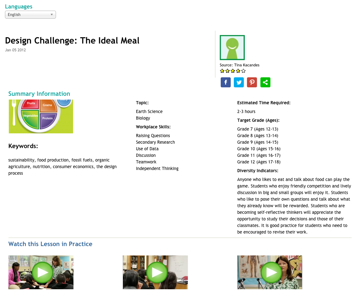 Design Challenge: The Ideal Meal Lesson Plan