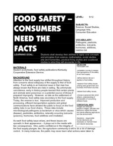 Food Safety-Consumers Need the Facts Lesson Plan