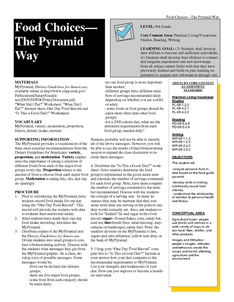 Food Choices The Pyramid Way Lesson Plan